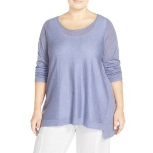 Eileen Fisher lightweight scoop neck hi-lo sweater